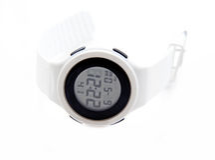 Wristwatch on white background close up. Stock Photo