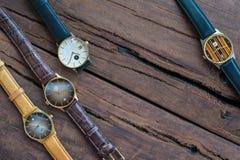Wristwatches na drewnianym stole Obraz Royalty Free