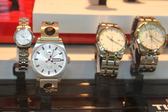 Wristwatches Tissot. On the shelf in the shop Stock Photography