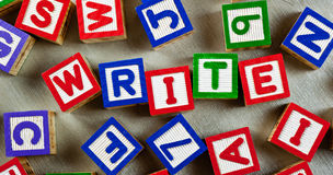 Write. Wooden blocks forming the word WRITE royalty free stock image