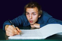 Write 5. Write teens portrait people education, visible noise Stock Photo