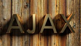 AJAX brass write on wooden background - 3D rendering