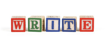 Write - Alphabet blocks isolated Stock Images