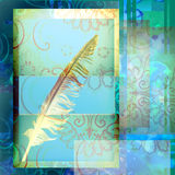 Write ancient bird feather Royalty Free Stock Photography