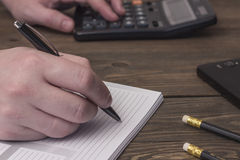 Write with a ballpoint pen Stock Photography