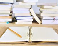 Write on the book. In the library Royalty Free Stock Photos