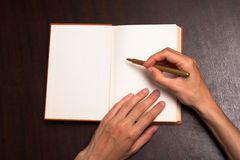 Write on book Stock Image