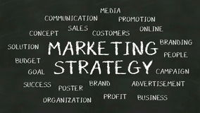 Write concept of 'Marketing Strategy' at chalkboard. stock footage