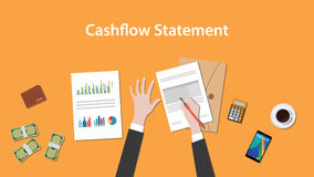 Write and count cashflow statement on a paperworks with calculator, money and coffee on top of table. Vector Royalty Free Stock Photo