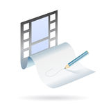 Write and create a movie plot. Icon concept for a director writing down a new movie plot with blank sheet as movie film strip Royalty Free Stock Photo