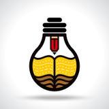 Write a creative idea in bulb Stock Image