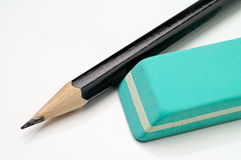 Write and delete. Pencil and eraser Royalty Free Stock Image