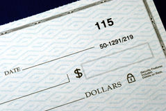 Write the dollar amount on the check Stock Image