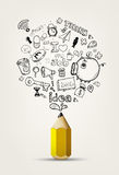 Write doodle idea on white paper. Royalty Free Stock Image