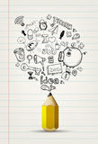 Write doodle idea on white paper. Royalty Free Stock Photos