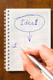 Write down an idea to notebook. Idea sign in notebook, i have an idea Royalty Free Stock Photography