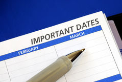 Write down some important dates Royalty Free Stock Photo