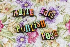 Write edit publish post media. Writer publisher editor journalist journalism story storytelling reading education learning news media print article letterpress stock photos