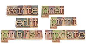 Write, edit, publish, update. Write, edit, publish, post, print, update - a collage of isolated words related to writing and publishing, vintage wood letterpress stock image