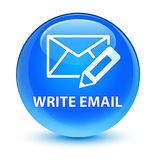Write email glassy cyan blue round button Royalty Free Stock Photos