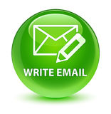 Write email glassy green round button Royalty Free Stock Photos