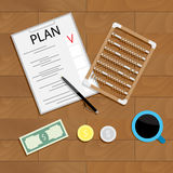 Write financial plan. Management money, financial with abacus on wood table. Vector illustration Royalty Free Stock Image