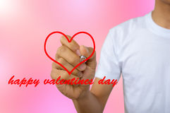 Write happy valentines day - portrait of men in white vest write Royalty Free Stock Photography