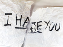 Write I HATE YOU on paper Royalty Free Stock Image