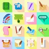 Write letter icons set, flat style Stock Photos
