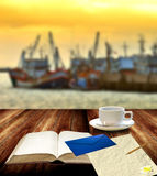 Write the letter beside the jetty Royalty Free Stock Photography