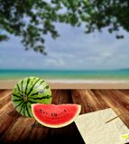 Write letter in the summer time concept Royalty Free Stock Images