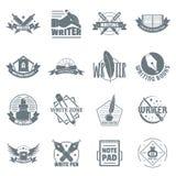 Write logo icons set, simple style. Write logo icons set. Simple illustration of 16 write logo vector icons for web Royalty Free Stock Image