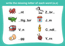Write the missing letter of each word(a,e) Stock Images