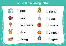 Write the missing letter Royalty Free Stock Photo