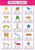 Write missing letter, Write the missing vowel, Worksheet for kids, Fill in the Short Vowel. Write missing letter, Write the missing vowel, Worksheet for children vector illustration