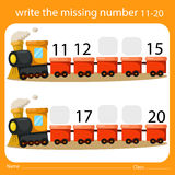 Write the missing number eleven to twenty on train. For education Stock Photography