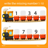 Write the missing number one to ten on train. For education Stock Photos