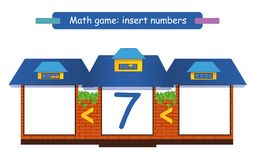 Write the missing numbers. Mathematics educational game for children. Complete the row. royalty free illustration