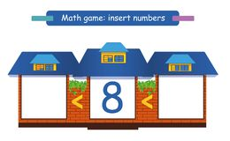 Write the missing numbers. Mathematics game for children. Complete the row. royalty free illustration