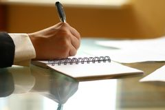 Write in note Stock Image