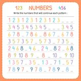 Write the numbers that will continue each pattern. Numbers for kids. Worksheet for kindergarten and preschool. Training to write a Stock Photos