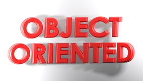 Object Oriented red 3D write - 3D rendering illustration. The write OBJECT ORIENTED, written with red 3D letters over awhite surface - 3D rendering Stock Photography