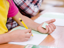 Write off exam in school Royalty Free Stock Photo