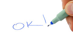 Write ok. Capillary pen, drawing Royalty Free Stock Images