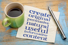 Write original, useful, informative conctent. Write original, persuasive, natural, useful, informative content - creating content advice - handwriting on napkin Stock Photography
