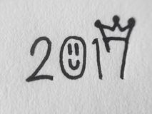 Write. 2017 on paper because Celebrate New Year 2017 Stock Image