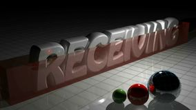 RECEIVING 3D write and a red rectangle growing up in front of it - 3D rendering video stock video footage