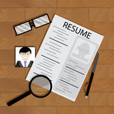 Write resume on table. Blank document resume with photo, vector illustration Stock Images