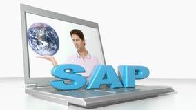 SAP on laptop computer - 3D rendering video stock illustration