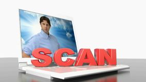SCAN on laptop computer - 3D rendering video vector illustration